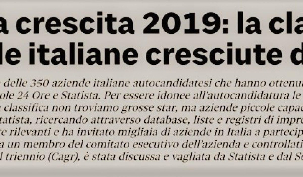 "SISTEC SELECTED IN THE ""LEADER DELLA CRESCITA 2019"" RANKING"